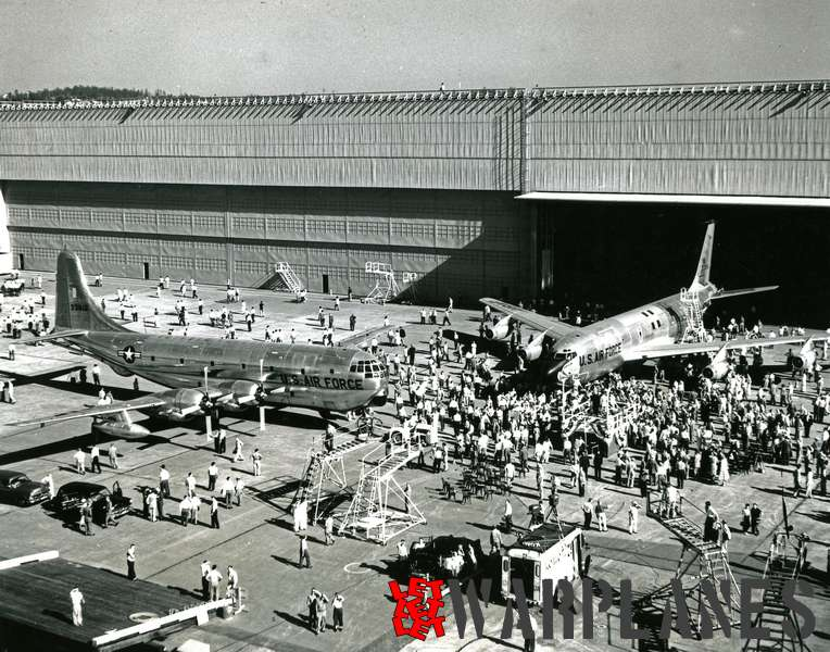 Boeing KC-135A 1st production no. 55-3118 roll out with last production KC-77 at Renton plnt 18.07.1954