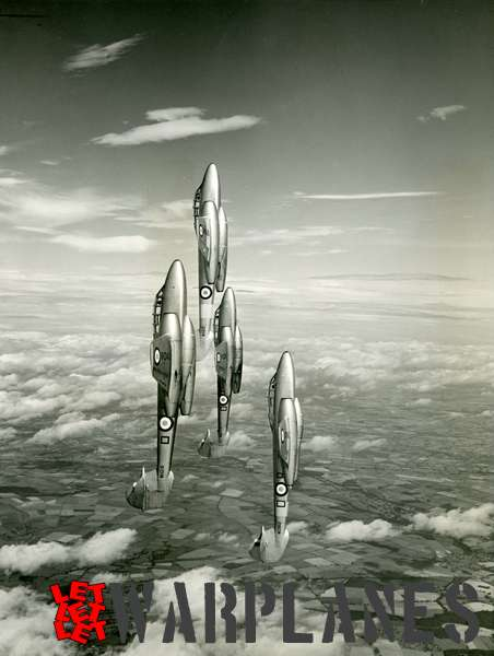 Gloster Meteor F.4 WH421, WA615, WA688 and WG962 in formation