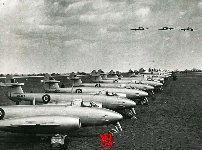 Gloster Meteor F.4 row with RA427 in front at Horsham St. Faith airfield near Norwich (April 1948)