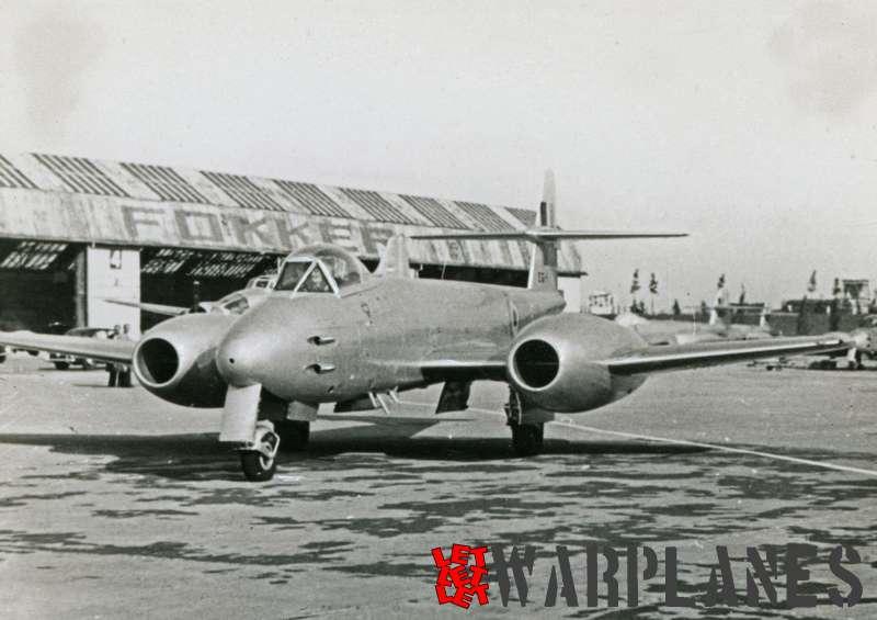Gloster Meteor F.8 EG4 Belgian air force at Fokker plant, Schiphol