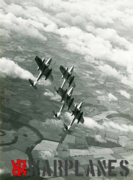 Gloster Meteor T.7 formation WH241, WA615 and WG862
