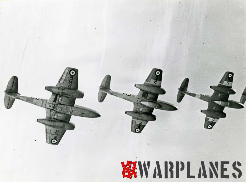 Gloster Meteor T.7 formation WL370, WH192 and WH373