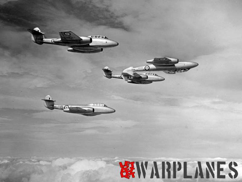 Gloster Meteor T.7 formationWG241, WA615, WG862 and WA685_2