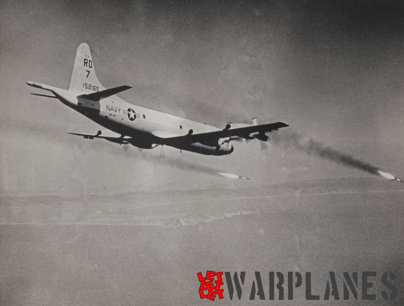 Lockheed P-3 Orion U.S. Navy VP-47 no. 152165 firing Harpoon missiles