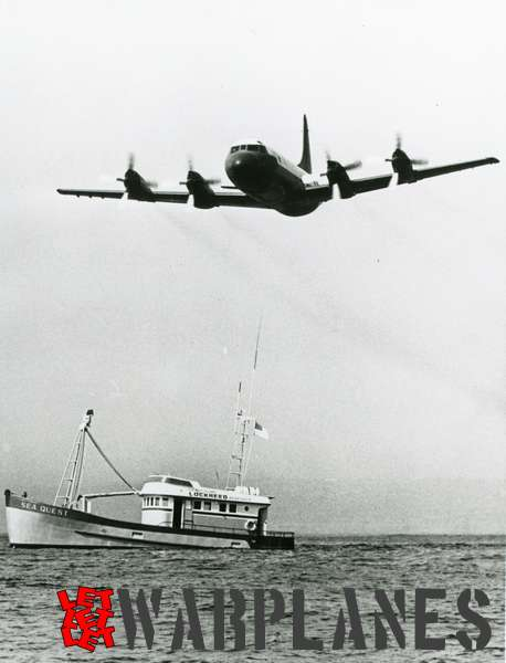 Lockheed P-3 Orion flying over Lockheed 'Sea quest' research  ship
