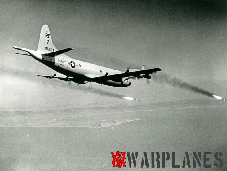 Lockheed P-3A Orion BuNo. 152165 of VP-47 firing Harpoon missiles