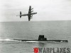Lockheed P-3A Orion flying over submarine SS-341 'Chopper'