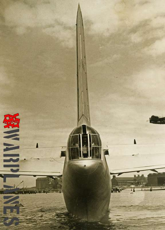 Short S.25 Sunderland I L2160 rear view tail with gun turret