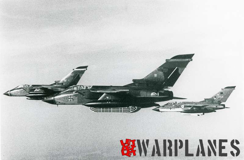 Panavia Tornado formation of 98#01 and 98#05 with 3rd Luftwaffe plane