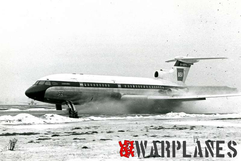 Hawker Siddeley HS.121 Trident G-ARPA testing on snowed runway
