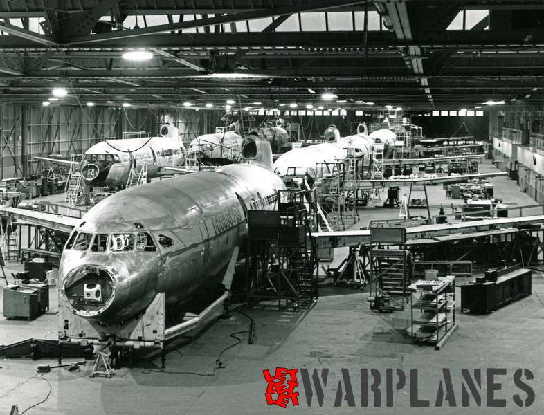 Hawker Siddeley HS.121 Trident assembly at Hatfield (1963)