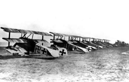 Line up of Fokker Dr.I