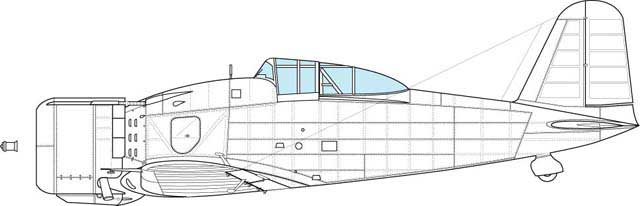 Port side view of the first production block. Feature is- external gun sight ring, high vertical tail, shorten upper cowling flap, all round view canopy.