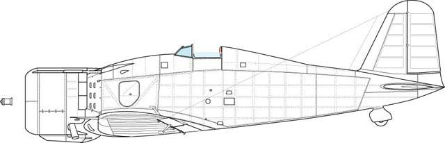 Port side view of the first official production block. Feature- whole new set of the panels and entry step on the fuselage side, other details as on the profile above.