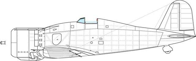 Fiat G.50, so called third serie. Feature- lower height of the vertical tail, third frame in the top side of the windscreen, lower position of the engine side door hinge.