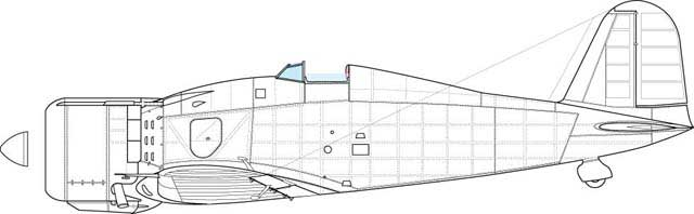 Fiat G.50, fourth serie. Feature- front engine cowling in one peace, standard spinner, one access panel under the cockpit on the port side.