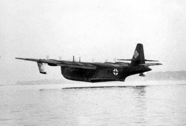 Another Blohm und Voss works picture showing the big BV-238V1 flying boat after its lift off from the water