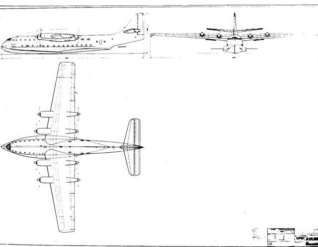 Official Dornier works drawing of the big Do-214 flying boat