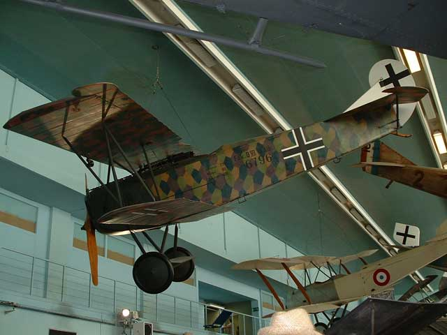 The typical lozenge camouflage colours are very evident on this Albatros-built D-VII as exhibited today at the Musée de l\'Air at Le Bourget