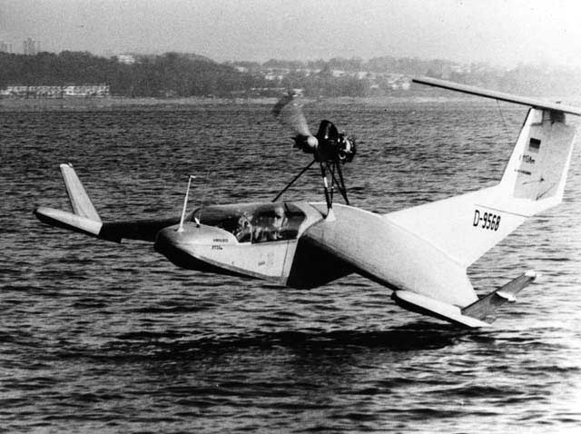 The Lippisch X-113 WIG skimming above the water surface