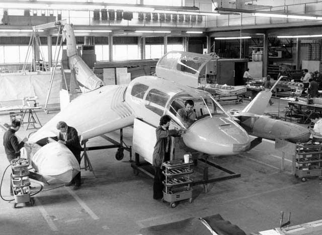 Looking like a Star Wars spaceship, we see here the X-114 under construction at RFB