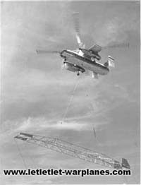 Fairey publicity photo of the Rotodyne lifting a cargo load just to show it could also be used as a helicopter \'flying crane\'