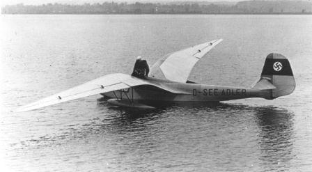 DFS Seeadler flying boat gliderwith the female pilot Hanna Reitsch