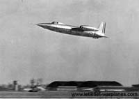 The first Trident I prototype during a low level run flying on its jet engines.