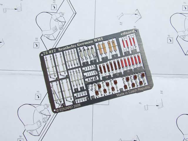 Very detailed seat belts for German model airplane kits in 1/72 scale