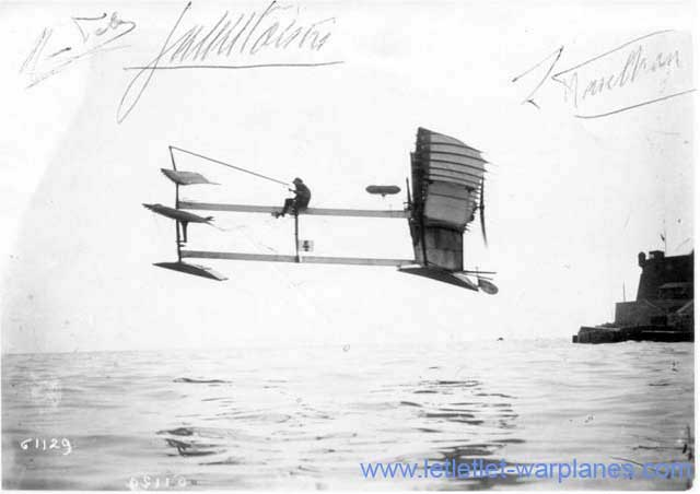 The historical flight of Henri Fabre on 28 March 1910 is here shown on a picture postcard