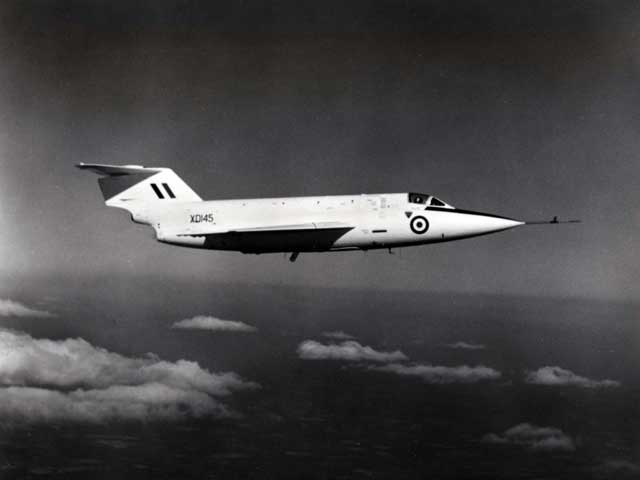 In-flight photo of the XD145, flying on turbojet power only (Saunders Roe photo)