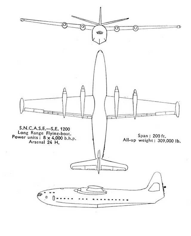 A 3-view drawing of the giant SE-1200 passengers flying boat . It was never built