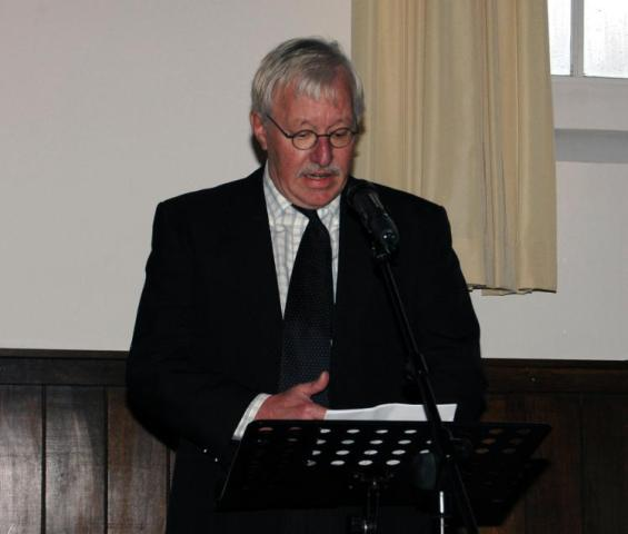 Wouter Sonderman during his opening speech in a nearby church