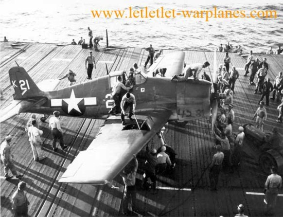 Crew is preparing this F6F-3 on deck for it's combat mission [Grumman]