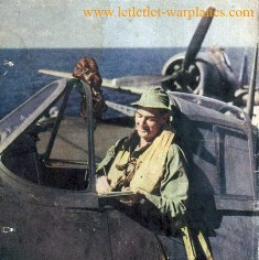 "Lt Noel Mitchell inside cockpit of his Hellcat at ""Instant rediness"" [Paul Whiteing collection]"