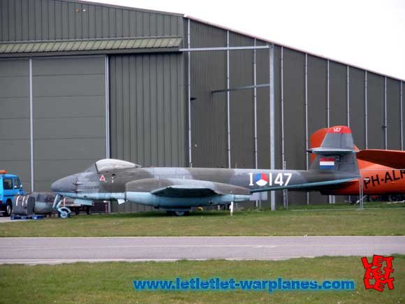 Meteor F.8 I-147 photographed outside the T2 hangar at Lelystad airport.