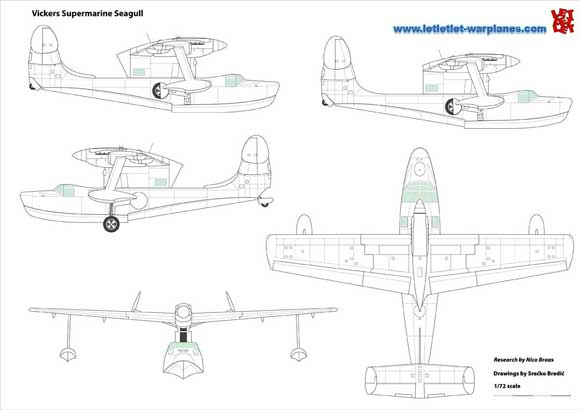Vickers Supermarine Seagull technical drawings