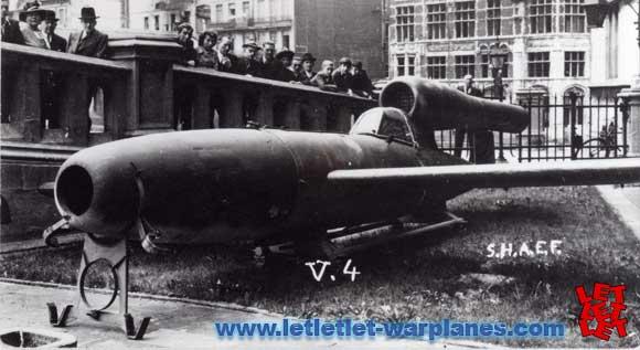 Fieseler Fi-103R summer 1945 outside Continental hotel, Antwerp (SHAEF display)