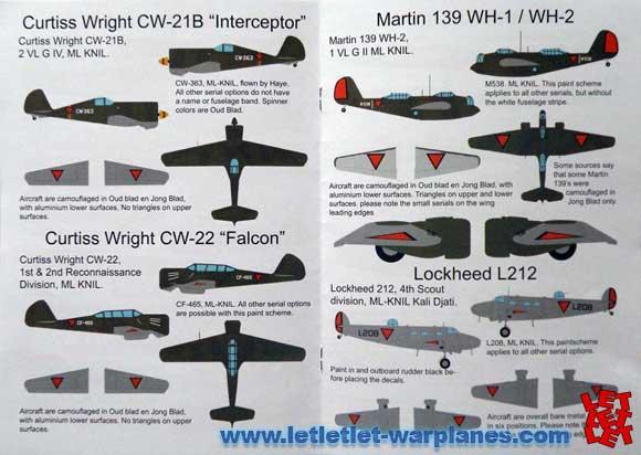 Flevo decals set FD-72-012: ML KNIL 1939-1942