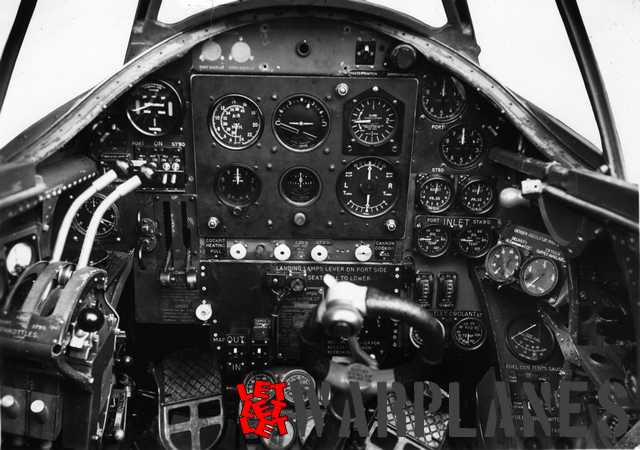 Cockpit interior with the instrument panel of one of the Whirlwind prototypes. The reflector-type gunsight was not yet fitted!  (Bernhard Klein collection)