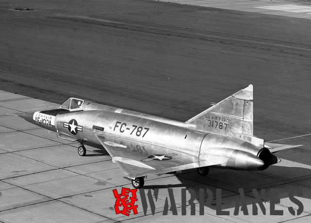 Convair YF-102A at Edwards Air Force base, California, on taxi run to begin its maiden flight. November 1953. In most aspect this features all of the construction elements of the future manufactured machines.