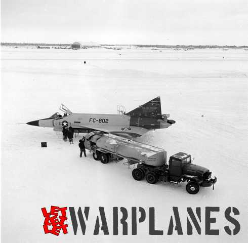 Convair F-102A, 53-1802 perform winter test on Alaska and service testings were made at -40C degree temperature. Aircraft have lower vertical tail as well Arctic orange markings.