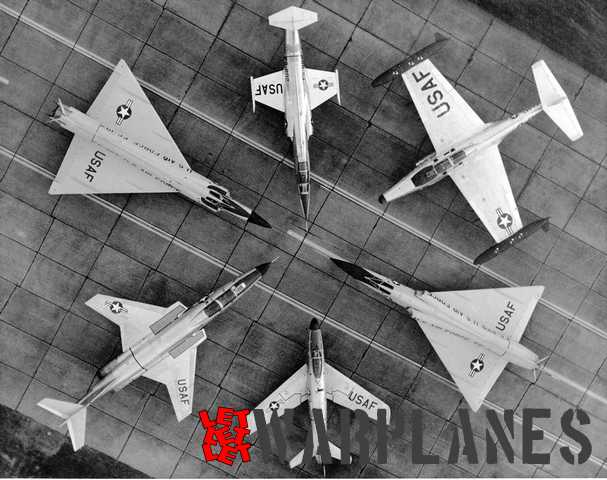 Backbone of the US fighting force in the early '60, from the top and clockwise is F-104 Starfighter, F-102 Delta Dagger, F-101 Voodoo, F-86D Sabre Dog, F-106 Delta Dart and F-89 Scorpion.