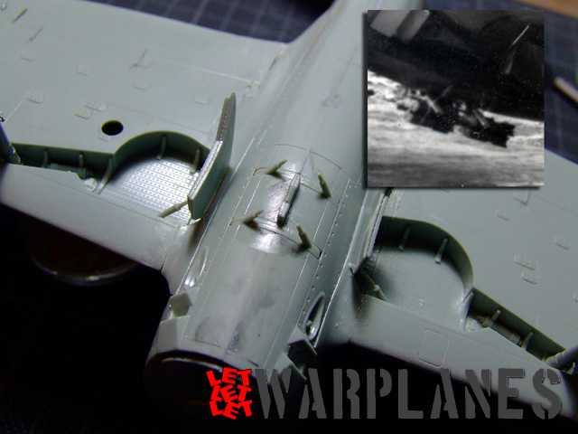 Note detail on the fuselage belly rack- there was mounted pack of the 20 lbs anti personnel bombs and used by particular plane I have made