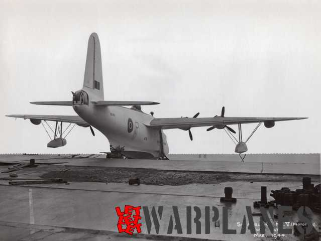 Rear view of Sunderland Mk.V prototype ML765 on the slipway. This picture was taken in March 1944. Note prototype marking on the rear fuselage.