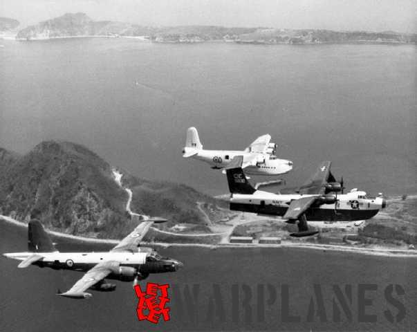 RNZAF Sunderland farewell at Corregidor in 1963 with an escort of a RNZAF Neptune and a U.S. Navy Martin Marlin (Wikipedia).