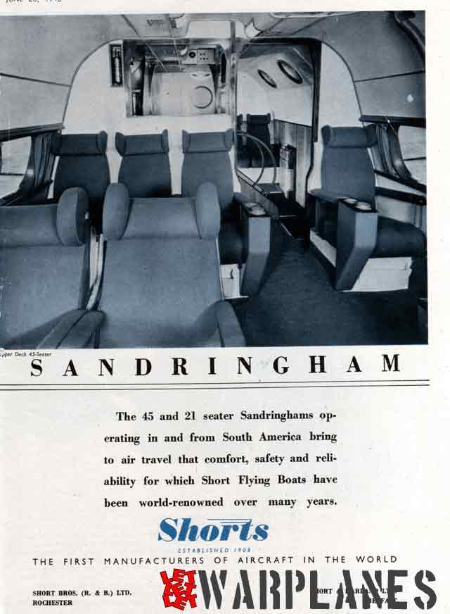 Sandringham advertizing from Flight 1946 showing its luxury interior.