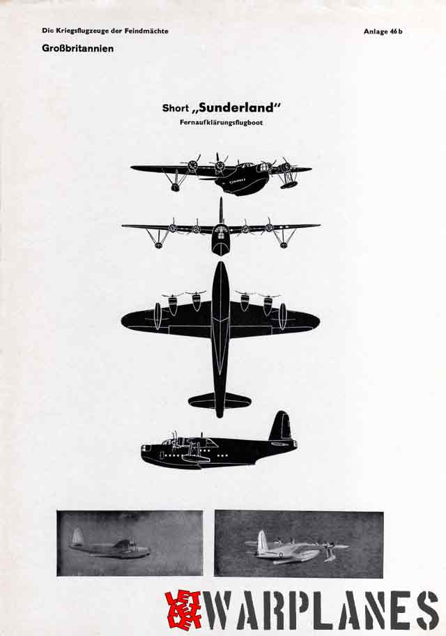 Four-view silhouette on the second page of the Sunderland entry in the German Recognition manual