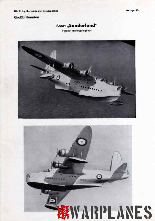 Last photo page of the German Recognition manual showing the Sunderland prototype.