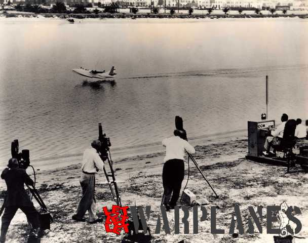 Early testing of a 1/8 radio-controlled scale flying XPB5Y-1 model at the seaward side of Lindbergh Field. It was powered by four 2 hp two-stroke engines. It was filmed with three cameras. (Consolidated Vultee photo N24426)